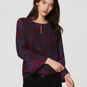 LOFT M Silky Floral Mixed Media Bell Sleeve Top